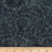 Banyan Batiks Darling Lace Flowers Charcoal/Gray