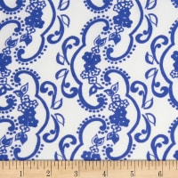 Banyan Batiks Darling Lace Swirl Flowers Blue/White