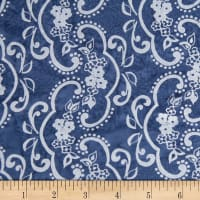 Banyan Batiks Darling Lace Swirl Flowers Gray/Blue
