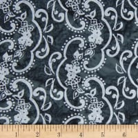 Banyan Batiks Darling Lace Swirl Flowers Gray/Black