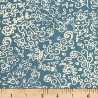 Banyan Batiks Feathers Floral Scroll White/Teal