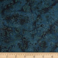 Banyan Batiks Feathers Floral Scroll Teal/Black