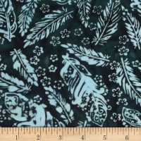 Banyan Batiks Feathers Small Florals & Feathers Black/Teal