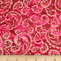 Banyan Batiks Roses And Thorns Blush Pink/ Red