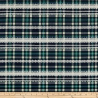 Kokka Gothic & Lolita Twill Plaid Navy Green
