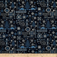 Kokka Cross Stitch Oxford Nordic Blue