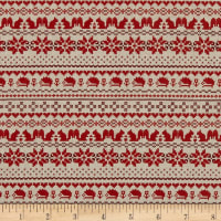 Kokka Cross Stitch Oxford Nordic Border Red