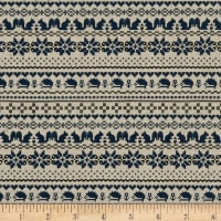 Kokka Cross Stitch Oxford Nordic Border Blue