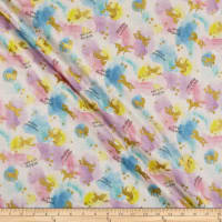 Kokka Pastel Pop Double Gauze Shooting Star Unicorn Metallic Pink