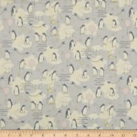 Kokka Baby Dreams Double Gauze Penguins on Clouds Grey