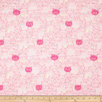 Cosmo Cool Cat Cat Faces Double Gauze Pink