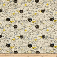 Cosmo Cool Cat Cat Faces Double Gauze Beige