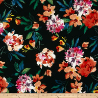 Liverpool Double Knit Floral Black/Coral