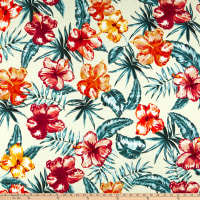 Liverpool Double Knit Tropical Floral Orange/Stone