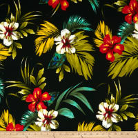 Liverpool Double Knit Tropical Floral Black/Olive