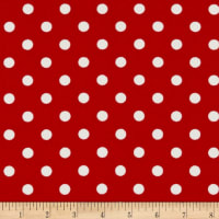 Fabric Merchants Liverpool Double Stretch Knit Polka Dot Red/Ivory