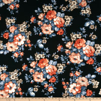 Liverpool Double Knit Roses Rust/Teal