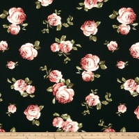 Liverpool Double Knit Floral Dusty Rose/Black
