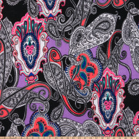 Liverpool Double Knit Rhapsody Paisley Purple/Black/Pink