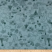 Cosmo Scandinavian Woods XII Linen/Cotton Oxford Cottage Scene Blue