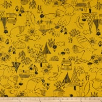 Cosmo Scandinavian Woods XII Linen/Cotton Oxford Cottage Scene Mustard