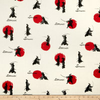 Cosmo Samurai Cotton/Linen Canvas Scattered Samurai Natural