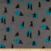Cosmo Samurai Cotton/Linen Canvas Scattered Samurai Grey