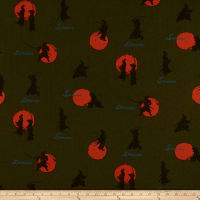 Cosmo Samurai Cotton/Linen Canvas Scattered Samurai Olive