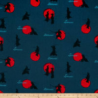Cosmo Samurai Cotton/Linen Canvas Scattered Samurai Navy