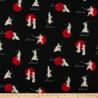Cosmo Samurai Cotton/Linen Canvas Scattered Samurai Black