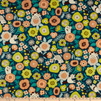 Cosmo Gardener's Path Oxford Floral And Cats Toss Navy
