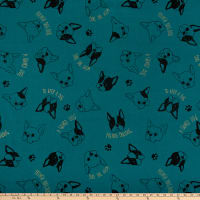 Cosmo Frenchie Cotton/Linen Canvas Metallic Tossed Bulldog Heads Dark Teal