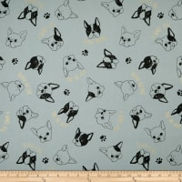 Cosmo Frenchie Cotton/Linen Canvas Metallic Tossed Bulldog Heads Grey