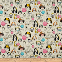 Cosmo Talking Heads Cotton/Linen Canvas Heads And Text Toss Natural