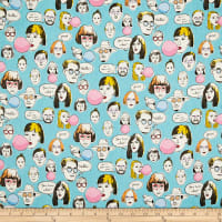 Cosmo Talking Heads Cotton/Linen Canvas Heads And Text Toss Aqua