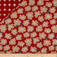 Cosmo Reversible Woodland Cotton/Linen Canvas Floral And Dot Red