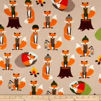 Kaufman Campsite Critters Flannel Foxes Nature