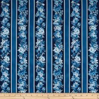 Kaufman Mayfield Stripes Flowers Indigo