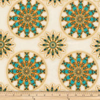 Robert Kaufman Terracina Medallions Metallic Cream