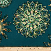 Kaufman Terracina Medallions Metallic Multi/Teal