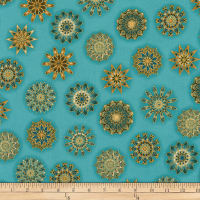 Kaufman Terracina Medallions Metallic Teal