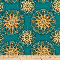 Kaufman Terracina Metallic Medallions Teal