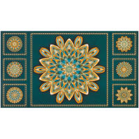 "Kaufman Terracina 24"" Panel Medallions Metallic Teal"