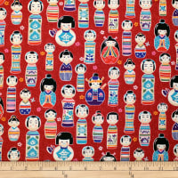 Trans-Pacific Textiles Oriental Kokeshi Dolls Red