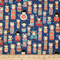 Trans-Pacific Textiles Oriental Kokeshi Dolls Navy