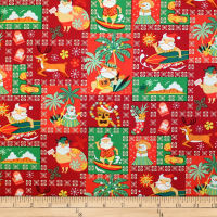 Trans-Pacific Textiles Hawaiian Santa Christmas Red