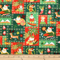 Trans-Pacific Textiles Hawaiian Santa Christmas Green