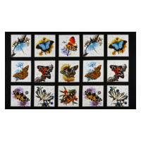 "Elizabeth's Studio Butterflies and Moths, 24"" Panel Black"