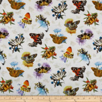 Elizabeth's Studio Butterflies and Moths On Flowers Cream