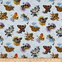 Elizabeth's Studio Butterflies and Moths On Flowers Sky Blue